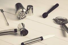 Εργαλεία μπάρμαν προϊόντων πρώτης ανάγκης στοκ εικόνες