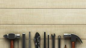 Εργαλεία ξυλουργικής στην ξύλινη επιφάνεια Στοκ Εικόνες