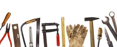 Εργαλεία που απομονώνονται παλαιά στο λευκό Στοκ Εικόνα
