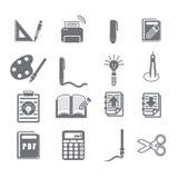 Εργαλεία που μαθαίνουν το σύνολο 3 εικονιδίων Στοκ εικόνα με δικαίωμα ελεύθερης χρήσης