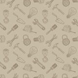 Εργαλεία που σύρουν το άνευ ραφής υπόβαθρο Στοκ Εικόνα