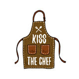 Εργαλεία ποδιών ή κουζινών, μαγειρεύοντας ουσία για τη διακόσμηση επιλογών έμβλημα λογότυπων ψησίματος ή ετικέτα, χαραγμένο χέρι  Στοκ Εικόνα
