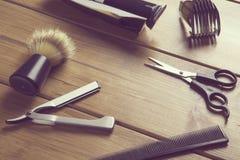 Εργαλεία προϊόντων πρώτης ανάγκης για τον κουρέα στοκ εικόνες με δικαίωμα ελεύθερης χρήσης