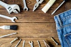 Εργαλεία σε ξύλινο με το διάστημα αντιγράφων Στοκ φωτογραφίες με δικαίωμα ελεύθερης χρήσης