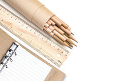 εργαλεία σχεδίου με το διοργανωτή δέρματος Στοκ Εικόνες