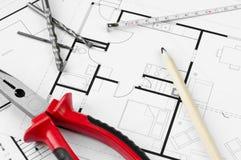 Εργαλεία σχεδίων κατασκευής Στοκ εικόνα με δικαίωμα ελεύθερης χρήσης