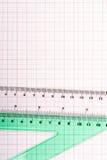 Εργαλεία σχεδίων σε χαρτί γραφικών παραστάσεων Στοκ εικόνες με δικαίωμα ελεύθερης χρήσης