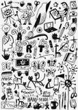 Εργαλεία τέχνης, χρώμα doodles διανυσματική απεικόνιση
