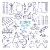 Εργαλεία των επιστημών που απομονώνονται στο λευκό Εξοπλισμός τεχνολογίας, μάθημα βιολογίας συρμένες απεικονίσεις χεριών διανυσματική απεικόνιση