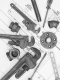 Εργαλεία υδραυλικών στα σχεδιαγράμματα 2 Στοκ εικόνες με δικαίωμα ελεύθερης χρήσης
