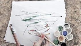 Εργαλεία χεριών και σχεδίων καλλιτέχνη Στοκ εικόνα με δικαίωμα ελεύθερης χρήσης