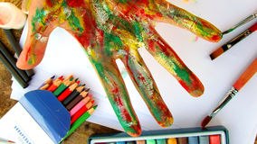 Εργαλεία χεριών και σχεδίων καλλιτέχνη Στοκ Εικόνα