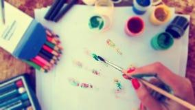 Εργαλεία χεριών και σχεδίων καλλιτέχνη Στοκ Εικόνες