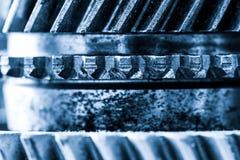 Εργαλεία, grunge cogwheels, πραγματική κινηματογράφηση σε πρώτο πλάνο στοιχείων μηχανών Βαριά βιομηχανία Στοκ Φωτογραφίες