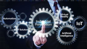 Εργαλείο αφής επιχειρηματιών με τη λέξη κλειδί, αυτοματοποίηση, λύση ΤΠ, εικονική πραγματικότητα, «Βιομηχανική Επανάσταση»