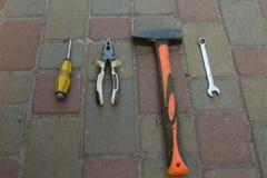 εργαλείο Σφυρί, κατσαβίδι, γαλλικό κλειδί Στοκ φωτογραφία με δικαίωμα ελεύθερης χρήσης