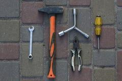 εργαλείο Σφυρί, κατσαβίδι, γαλλικό κλειδί Στοκ εικόνες με δικαίωμα ελεύθερης χρήσης
