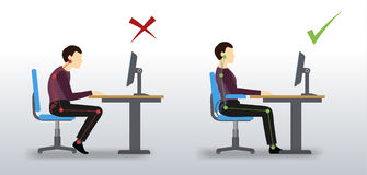 εργονομικός Λανθασμένη και σωστή στάση συνεδρίασης Στοκ εικόνα με δικαίωμα ελεύθερης χρήσης