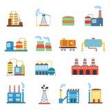 Εργοστάσια βιομηχανικού κτηρίου και εικονίδια εγκαταστάσεων καθορισμένα Στοκ φωτογραφία με δικαίωμα ελεύθερης χρήσης