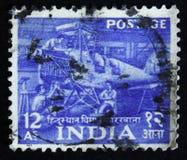 Εργοστάσιο αεροσκαφών Hindustan, πενταετές σχέδιο - 1$ο ζήτημα 1955-58, circa 1955 Στοκ εικόνα με δικαίωμα ελεύθερης χρήσης
