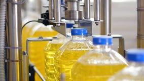 Εργοστάσιο επεξεργασίας ηλιέλαιων Η βιομηχανική μηχανή σφίγγει τα καλύμματα στα πλαστικά μπουκάλια 4K απόθεμα βίντεο