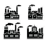 Εργοστάσιο και βιομηχανίες και λογότυπο βιομηχανιών Στοκ φωτογραφία με δικαίωμα ελεύθερης χρήσης