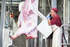Εργοστάσιο κατασκευής κρέατος τέμνον σφάγιο βόειου κρέατος χασάπηδων στοκ φωτογραφία