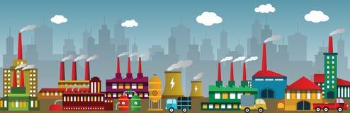 Εργοστάσιο στην πόλη ελεύθερη απεικόνιση δικαιώματος