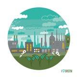 Εργοστάσιο στις πράσινες έννοιες πόλεων Στοκ εικόνες με δικαίωμα ελεύθερης χρήσης