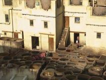Εργοστάσιο φλοιών και χρωστικών ουσιών στο Fez στοκ εικόνα με δικαίωμα ελεύθερης χρήσης