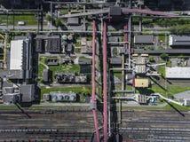 Εργοστάσιο χάλυβα μεταλλουργικό φυτό χαλυβουργεία, εργοστάσια σιδήρου Heav Στοκ Φωτογραφίες