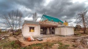Εργοτάξιο οικοδομής ενός single-family σπιτιού Στοκ Εικόνα