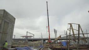 Εργοτάξιο οικοδομής, κατασκευή ενός αντικειμένου υποδομής μεταφορών απόθεμα βίντεο