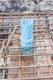 Εργοτάξιο οικοδομής: Μανίκι PVC που εγκαθίσταται στους φραγμούς ενίσχυσης πρίν χύνει τη τσιμεντένια πλάκα Στοκ φωτογραφίες με δικαίωμα ελεύθερης χρήσης