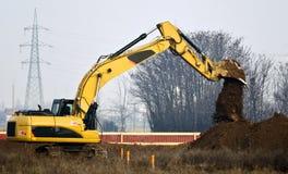 Εργοτάξιο οικοδομής με το escavator στοκ φωτογραφίες