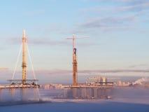 Εργοτάξιο οικοδομής μια χειμερινή ημέρα Στοκ φωτογραφία με δικαίωμα ελεύθερης χρήσης
