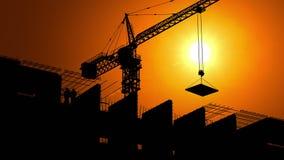 Εργοτάξιο οικοδομής στη Dawn απόθεμα βίντεο