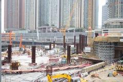 Εργοτάξιο οικοδομής της σαφούς ράγας Χονγκ Κονγκ Στοκ Φωτογραφία