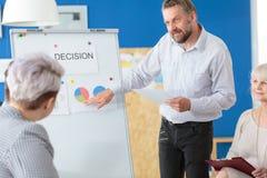 Εργοδότης που εξηγεί τη γραφική παράσταση Στοκ εικόνα με δικαίωμα ελεύθερης χρήσης