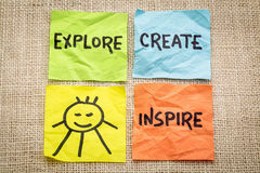 Ερευνήστε, δημιουργήστε, εμπνεύστε και χαμογελάστε την υπενθύμιση Στοκ φωτογραφίες με δικαίωμα ελεύθερης χρήσης