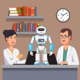 Ερευνητές που προγραμματίζουν το δίποδο ρομπότ humanoid διανυσματική απεικόνιση