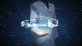 Ερευνητής, ανοικτός φοίνικας μηχανικών, ηλεκτρονικός, υδρογόνο, ιονικό αυτοκίνητο ηχούς μπαταριών λίθιου Φορτίζοντας μπαταρία αυτ απόθεμα βίντεο