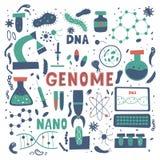 Ερευνητική διανυσματική απεικόνιση DNA με τα ζωηρόχρωμα στοιχεία στοκ εικόνες