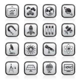 ερευνητική επιστήμη εικονιδίων εκπαίδευσης Στοκ Εικόνα