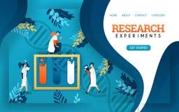 Ερευνητικό πείραμα έμβλημα υγείας νέα εξετασμένα επιστήμονες ρευστά στους σωλήνες r ελεύθερη απεικόνιση δικαιώματος