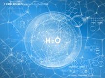 Ερευνητικό υπόβαθρο νερού με τα στοιχεία HUD Φουτουριστικό ενδιάμεσο με τον χρήστη Στοκ Εικόνα