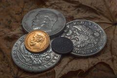 Ερμηνεία ενός χρυσού νομίσματος Στοκ εικόνα με δικαίωμα ελεύθερης χρήσης