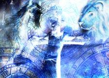 Ερμηνεία του Ιησού στο σταυρό και τα ζώα και zodiac, γραφική έκδοση ζωγραφικής Στοκ φωτογραφία με δικαίωμα ελεύθερης χρήσης