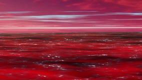 Ερυθρά Θάλασσα ή ωκεάνια κίνηση κυμάτων με τον ουρανό και το νεφελώδες υπόβαθρο απεικόνιση αποθεμάτων