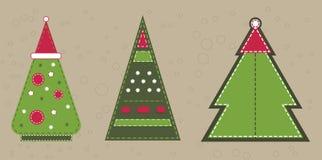 Ερυθρελάτες Χριστουγέννων στο κόκκινο καπέλο Αυτοκόλλητες ετικέττες με τη μίμηση ραψίματος Στοκ Εικόνα